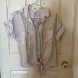 Anthropologie Cloth&Stone tie-front blouse S